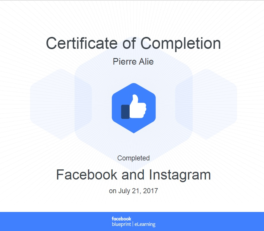 Certificat Facebook Instagram Ads